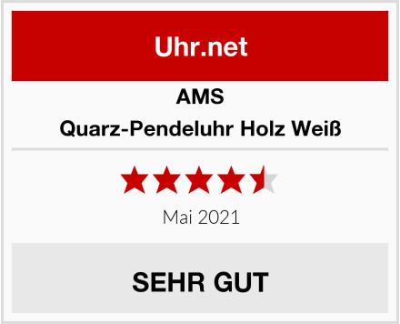 AMS Quarz-Pendeluhr Holz Weiß Test