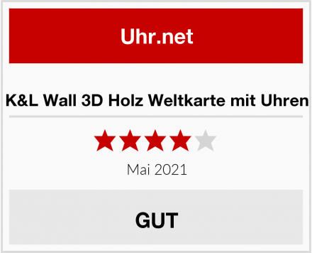 K&L Wall 3D Holz Weltkarte mit Uhren Test