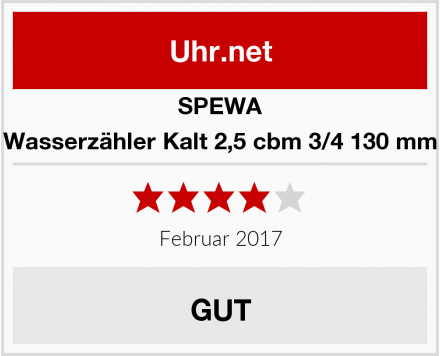 SPEWA Wasserzähler Kalt 2,5 cbm 3/4 130 mm Test