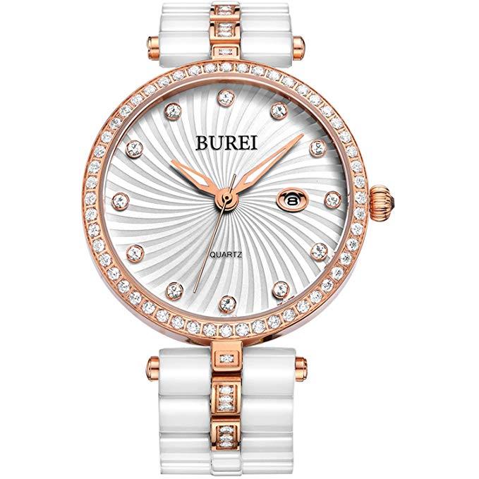 No Name BUREI Elegante Damen Quartz Armbanduhr