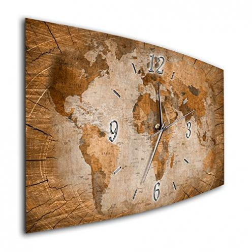 Bilder-Manufaktur Wanduhr Weltkarte