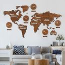 K&L Wall 3D Holz Weltkarte mit Uhren