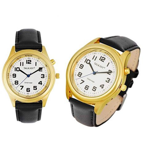TalkJoy Lederband Damen Sprechende Armbanduhr